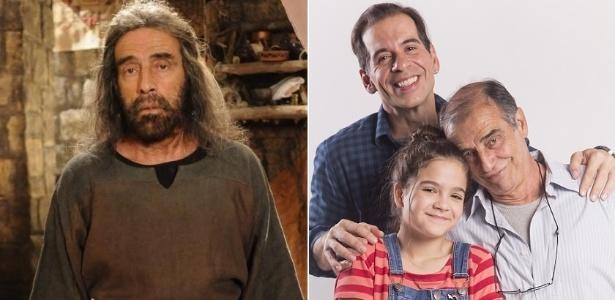 """Montagem de Walter Breda em """"A Terra Prometida"""" (Record) e """"A Cara do Pai"""" (Globo) - Montagem/UOL"""