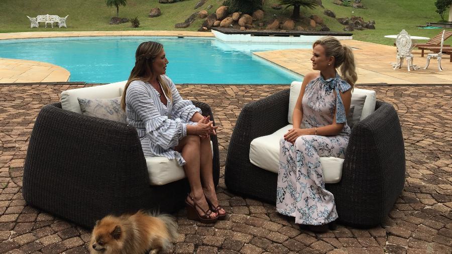A empresária Adriane Yamin, que foi namorada secreta de Ayrton Senna, em entrevista à apresentadora Eliana - Divulgação