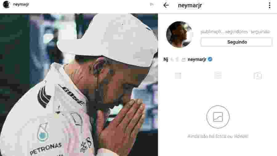 Montagem com a publicação mais recente de Neymar no Instagram e o perfil desativado - Montagem/Reprodução/Instagram/neymarjr