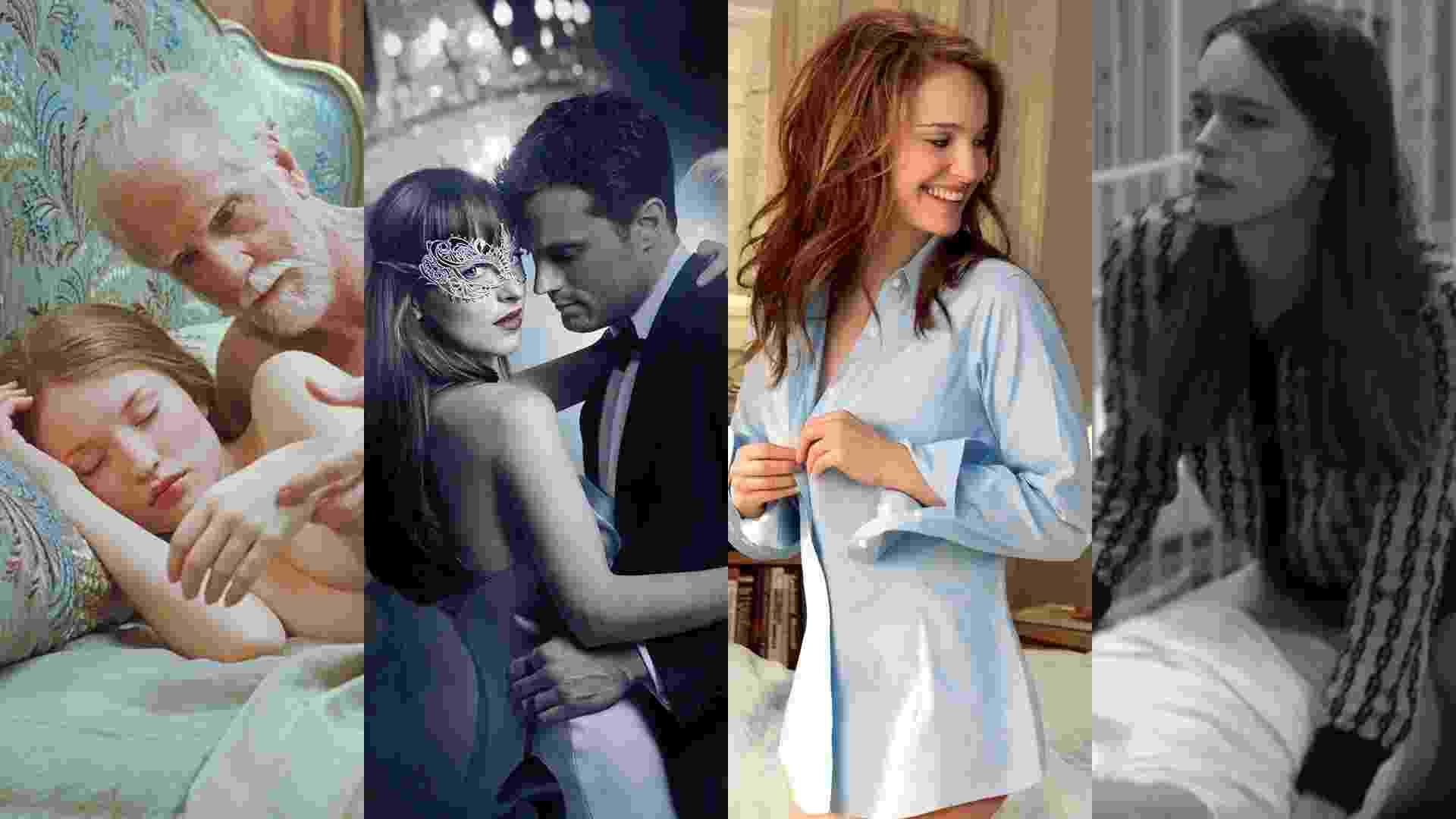 """Cenas dos filmes """"Beleza Adormecida"""" (2011), de Julia Leigh, """"Cinquenta Tons Mais Escuros"""" (2017), de James Foley, """"Sexo Sem Compromisso"""" (2011), de Ivan Reitman e """"Ninfomaníaca: Volume 1"""" (2013), de Lars von Trier - Reprodução/Montagem"""