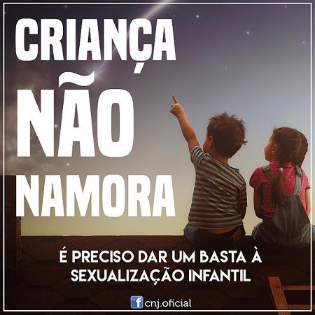 """Imagem do post """"Criança Não Namora"""" do Conselho Nacional de Justiça - Reprodução/Facebook"""