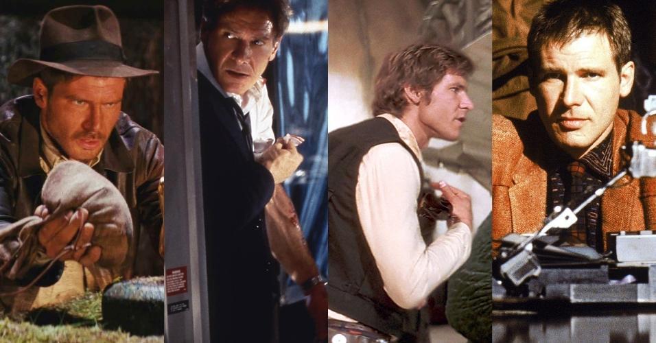 """Cena de """"Indiana Jones e Os Caçadores da Arca Perdida"""" (1981), cena de """"Força Aérea Um"""" (1997), Cena de """"Star Wars - Episódio IV - Uma Nova Esperança"""" (1977), cena de """"Blade Runner"""" (1982)"""