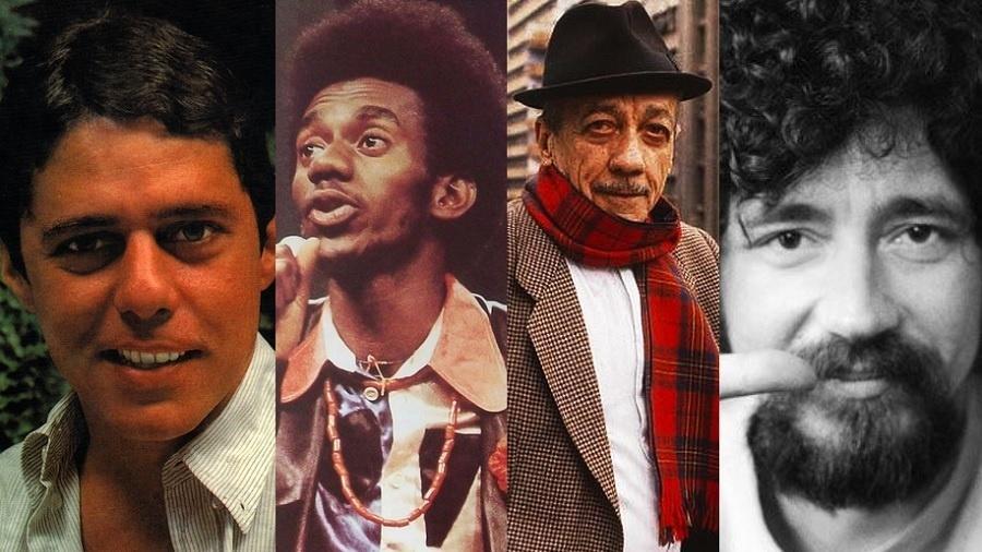 Chico Buarque, Luiz Melodia, Adoniran Barbosa e Raul Seixas, que tiveram obras censuradas - Reprodução/Montagem