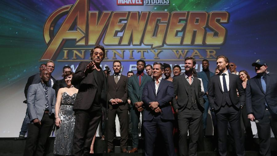 Robert Downey Jr faz discurso antes do lançamento do filme dos Vingadores - Jesse Grant/Getty Images