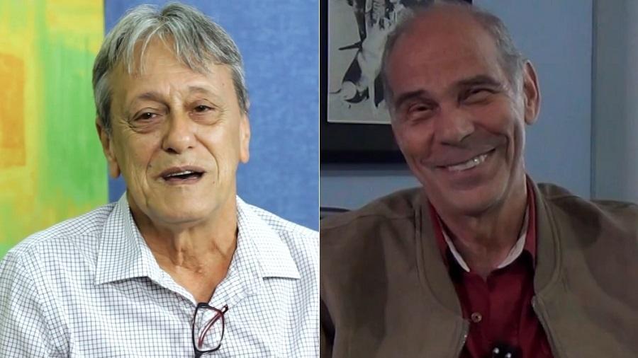 Nelson Machado, dublador de Quico, e Carlos Seidl, dublador de Seu Madruga - Montagem/UOL/Reprodução/YouTube