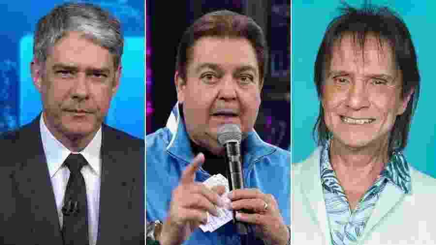 William Bonner, Fausto Silva e Roberto Carlos - Montagem/UOL/Reprodução/TV Globo/Raquel Cunha