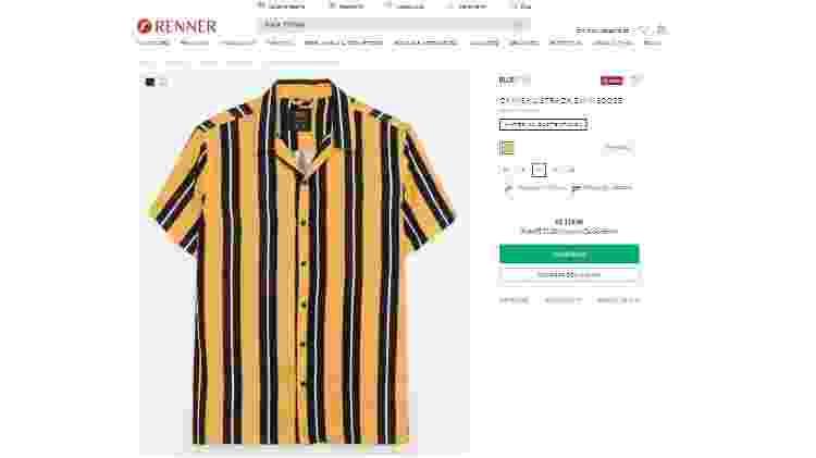 Camisa amarela está disponível na loja online e física - Reprodução