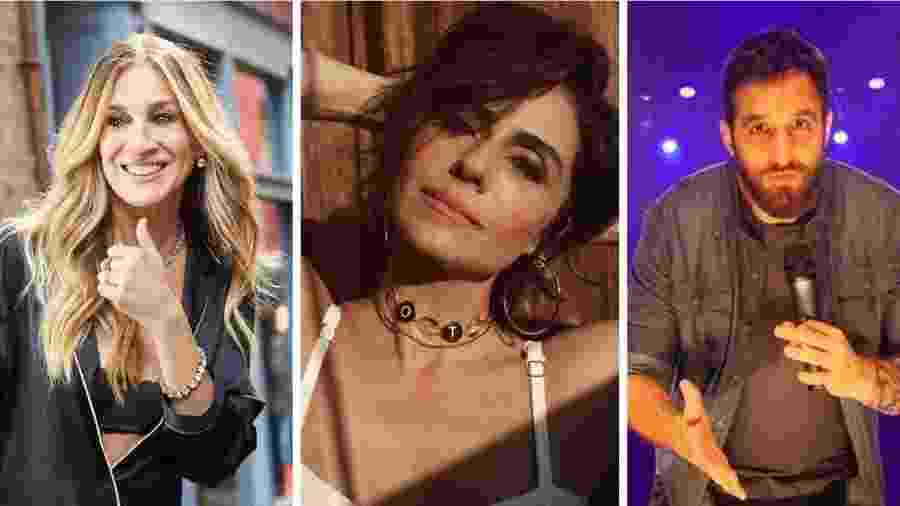Sarah Jessica Parker, Giovanna Antonelli e Rafinha Bastos estão em plataformas que permitem a você comprar mensagens dos famosos - Divulgação e Reprodução/ Instagram - Montagem UOL
