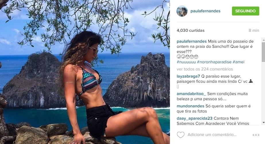 1.jan.2016 - Paula Fernandes passa férias em Fernando de Noronha