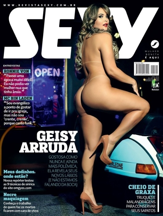 28.mar.2016 - A revista sexy divulgou nesta segunda-feira a capa com a ex-A Fazenda Geisy Arruda