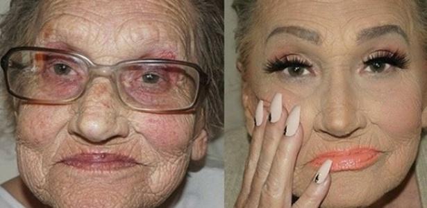 Lisa Lilly e sua transformação feita pela neta maquiadora - Reprodução/Instagram