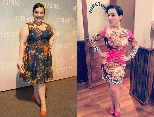 Simone Gutierrez em 2014 (à esq.) e em maio de 2016. A atriz levou dois anos para chegar ao seu peso ideal - AgNews/Reprodução/Instagram/simonegutierrez