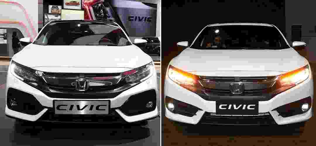 Honda Civic hatch europeu e Civic 10 brasileiro - Arte UOL Carros