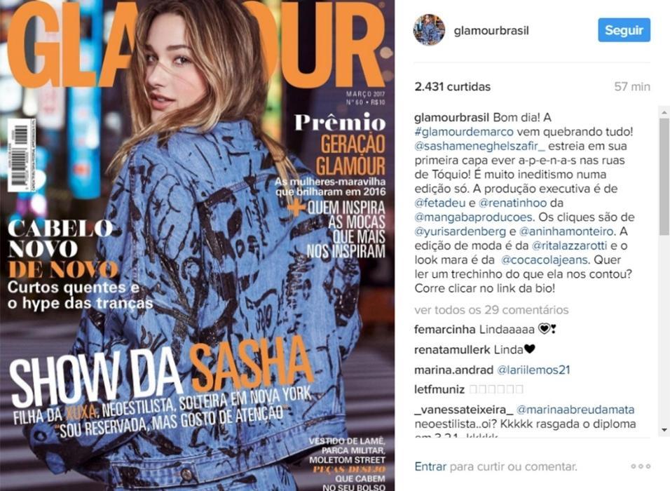 """Sasha posa para sua primeira capa de revista na edição de março da """"Glamour"""""""