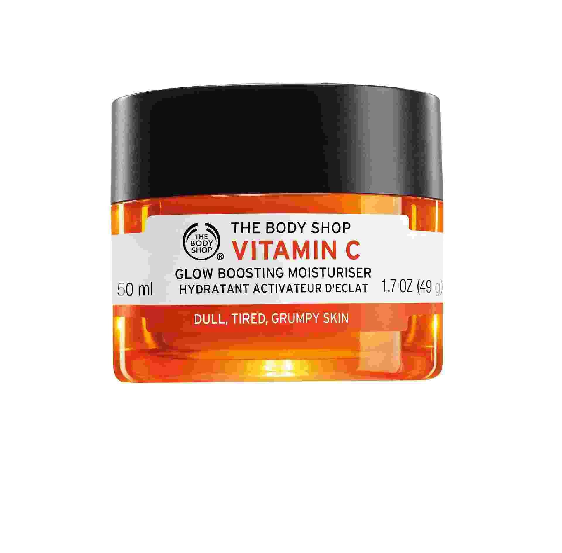 Gel Hidratante Iluminador Vitamina C, para energizar e iluminar a pele. R$ 137, The Body Shop, thebodyshop.com.br - Divulgação