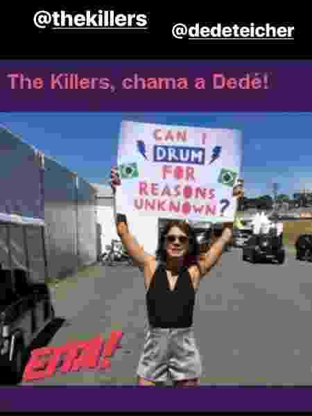 A apresentadora Dedé pede para tocar com os Killers - Reprodução/Instagram - Reprodução/Instagram