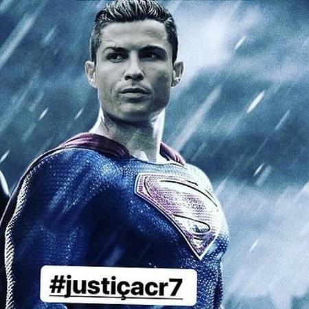 Familiares pedem o apoio dos fãs com uma montagem em que o português aparece vestido de Superman: ?#justiçaCR7? - Reprodução/Instagram