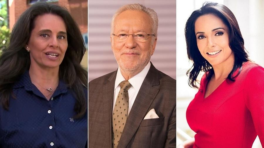Carla Vilhena, Alexandre Garcia e Izabella Camargo, jornalistas que deixaram a Globo em 2018 - Montagem/UOL/Reprodução/Divulgação/TV Globo