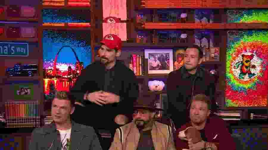 """Backstreet Boys durante o programa """"Watch What Happens Live com Andy Cohen"""" - Reprodução"""