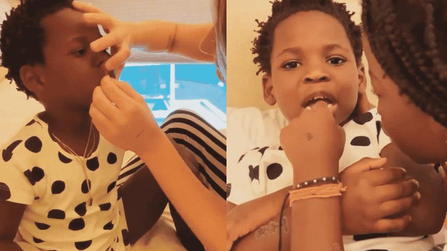 """Giovanna Ewbank liderou """"operação"""" para tirar dentes de Bless, com ajuda de Titi e Bruno Gagliasso - Reprodução/Instagram/@gioewbank"""
