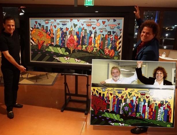 Mesma tela? Obra dada de presente a João Doria; em destaque, tela entregue a Lula pelas mãos da irmã do artista, Roberta Britto - Divulgação/Montagem UOL