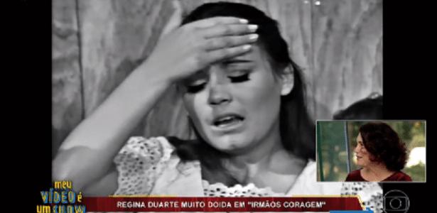 Regina fica emocionada ao rever cenas de sua carreira e brinca com personagem - Reprodução/TV Globo