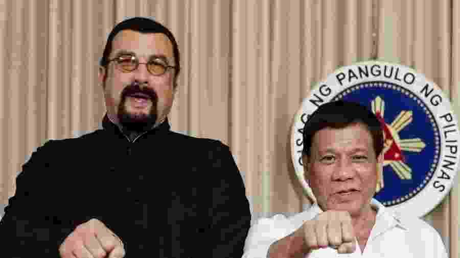 O ator Steven Seagal e o presidente filipino Rodrigo Duterte - Handout/Reuters