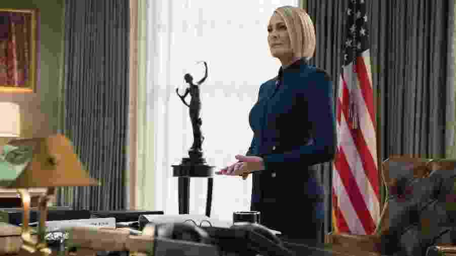 """Claire Underwood (Robin Wright) na Casa Branca em """"House of Cards"""" - Divulgação"""