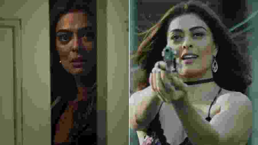 Juliana Paes como Maria da Paz, em A Dona do Pedaço, e Bibi Perigosa, em A Força do Querer - Montagem/UOL/Reprodução/TV Globo