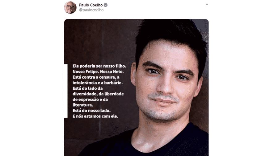 Paulo Coelho publica breve texto em homenagem e apoio a Felipe Neto - reprodução/Twitter