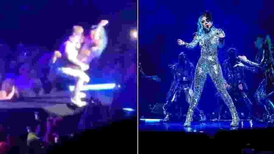 Lady Gaga é carregada antes da queda - Reprodução