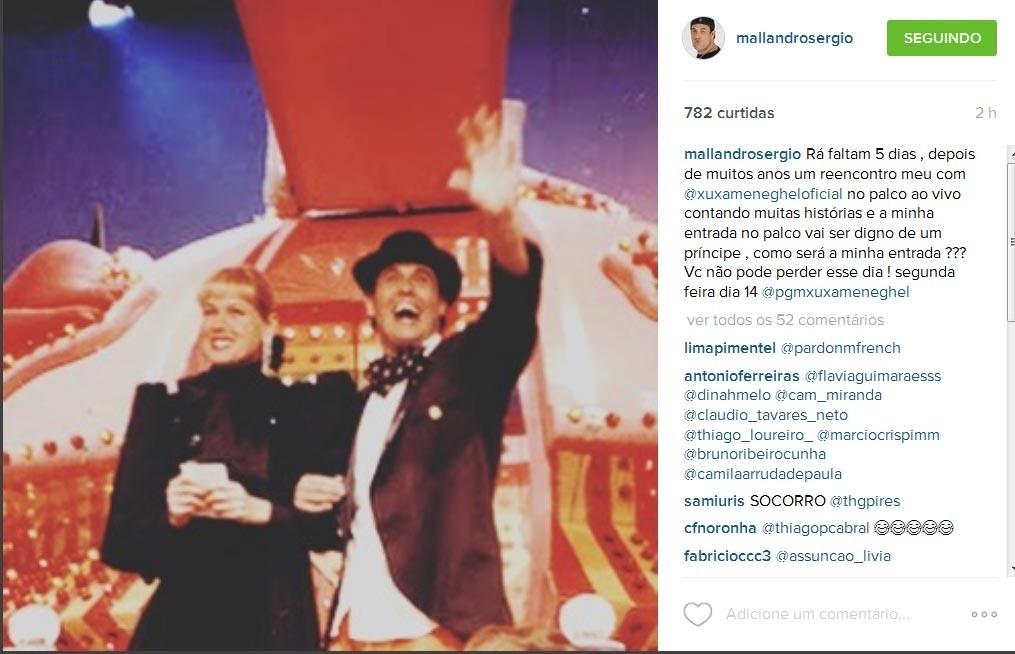 Sérgio Malllandro publica foto antiga com Xuxa no Instagram