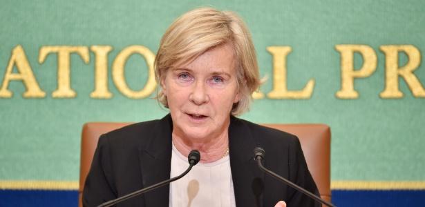 26.out.2015 - A representante da ONU, Maud de Boer Buquicchio durante entrevista coletiva no Japão - Kazuhiro Nogi/AFP Photo