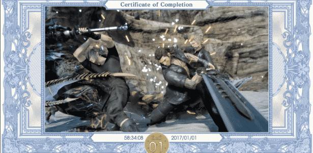 Certificado após os créditos comprova: jogador não subiu de nível uma vez sequer durante o game - Reprodução