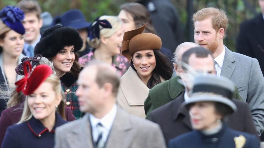 Príncipe William, Kate Middleton, Meghan Markle e o príncipe Harry vão à igreja de Santa Maria Madalena, na Inglaterra  - Getty Images