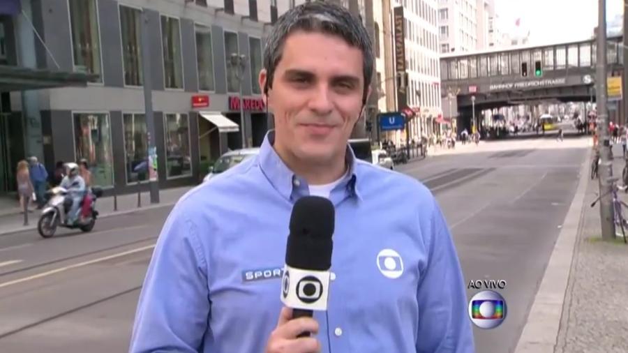 O repórter esportivo André Gallindo, da Globo, que desabafou após ter sido discriminado no Twitter - Reprodução/TV Globo
