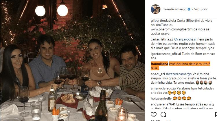 Seguidora critica a noiva de Igor Camargo - Reprodução/Instagram - Reprodução/Instagram