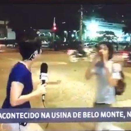 Jovem grita palavras de ordem contra Globo - Reprodução/Globo News