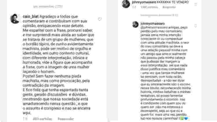 Caio Blat e Johnny Massaro se desculpam - Reprodução/Instagram - Reprodução/Instagram