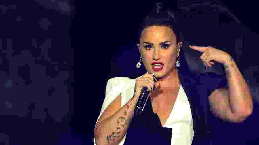 Demi Lovato durante seu show no Rock in Rio Lisboa, em junho - Miguel Riopa/AFP