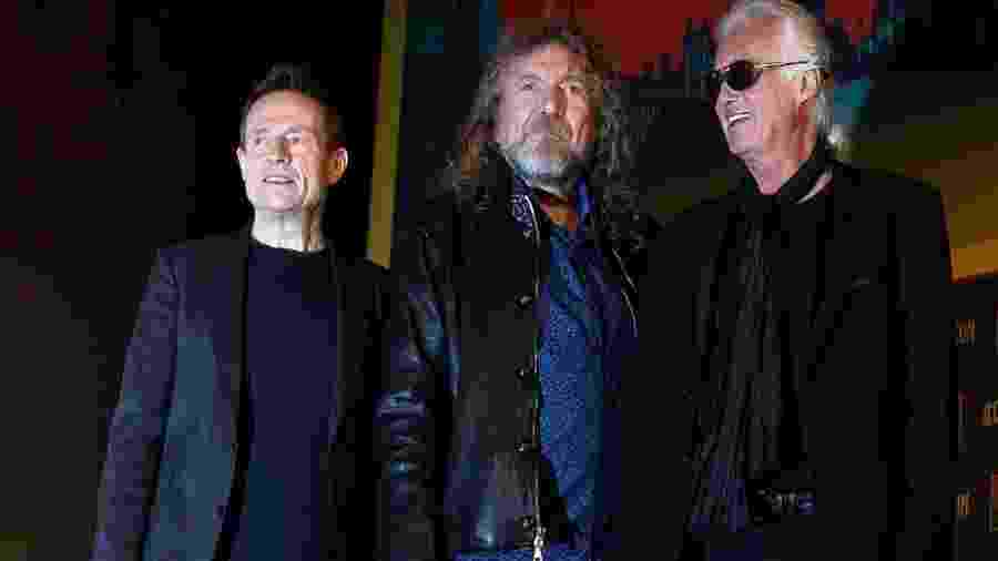 John Paul Jones, Robert Plant e Jimmy Page, integrantes remanescentes do Led Zeppelin - Danny Martindale/Getty Images