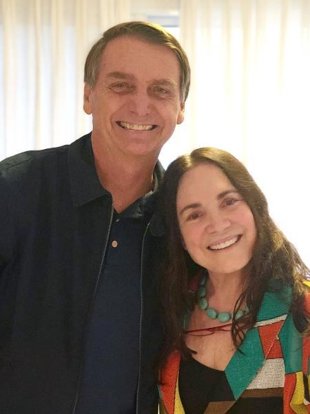 Regina Duarte já tinha manifestado apoio ao candidato Bolsonaro nas redes sociais e recebeu criticas de colegas da profissão - Reprodução/Twitter