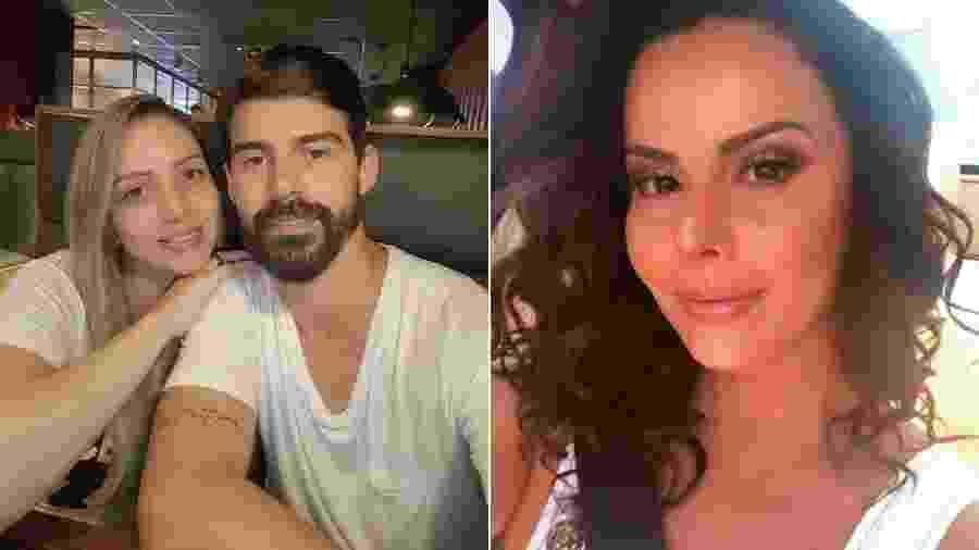 Caroline Furlan com o marido, Radamés Martins, e Viviane Araújo, ex-noiva do jogador - Reprodução/Instagram