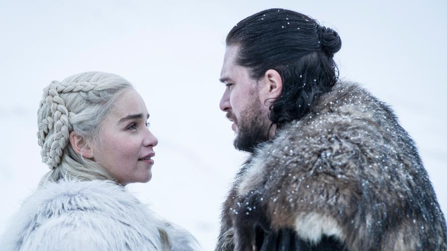 """Daenerys (Emilia Clarke) e Jon Snow (Kit Harington) em cena da oitava temporada de """"Game of Thrones"""" - Divulgação/HBO"""
