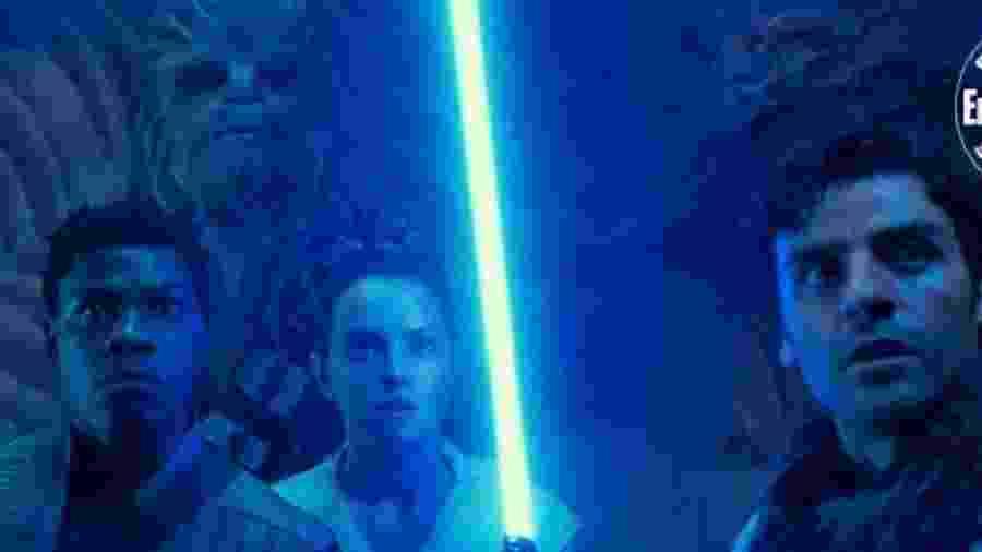 Finn (John Boyega), Chewbacca (Joonas Suotamo), Rey (Daisy Ridley) e Poe (Oscar Isaac) em cena de Star Wars: A Ascensão Skywalker - Divulgação/EW