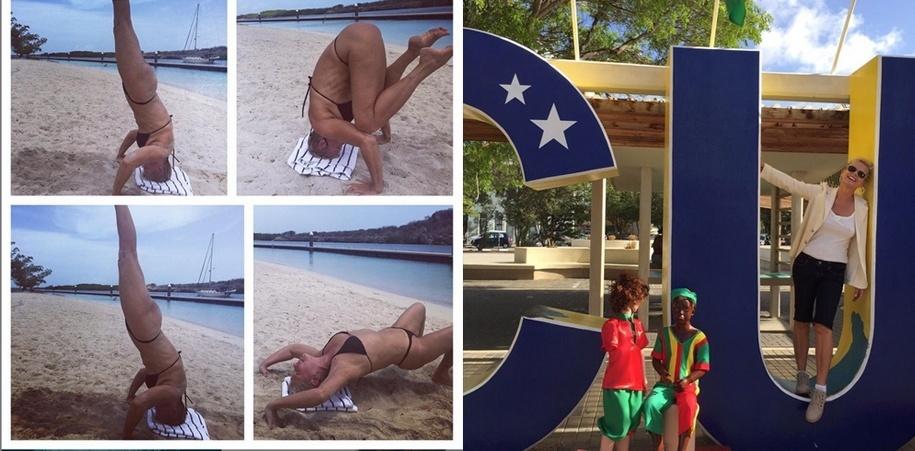 8.jul.2015 - Xuxa publica foto em que posa nas duas primeiras letras um painel de Curaçao, no Caribe, para rebater críticas que recebeu após mostrar tentativa de ioga na praia (esq.)