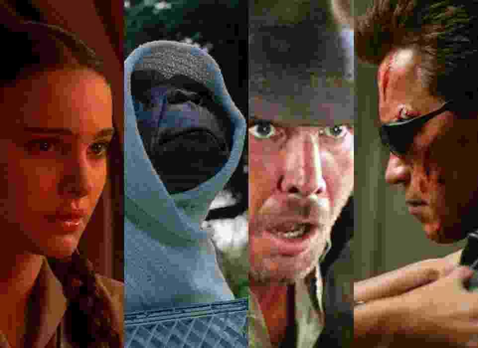 """Cenas dos filmes: """"Star Wars: Episódio III - A Vingança dos Sith"""" (2005), de George Lucas, """"E.T. - O Extraterrestre"""" (1982), de Steven Spielberg, """"Indiana Jones e os Caçadores da Arca Perdida"""" (1981), """"O Exterminador do Futuro 3: A Rebelião das Máquinas"""" (2003), de Jonathan Mostow - Montagem/Reprodução"""