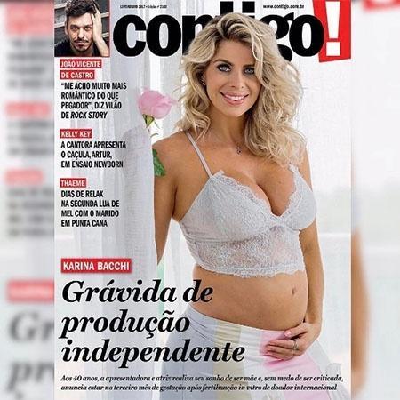 """Capa da revista """"Contigo!"""", Karina Bacchi conta que está grávida de produção independente - Reprodução/Instagram"""