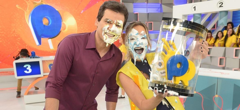 """Celso Portioli e Eliana no """"Passa ou Repassa"""" do SBT - Francisco Cepeda/AgNews"""