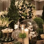 Mais detalhes da mesa de doces, que contou com bastante verde na decoração - Reprodução/Instagram